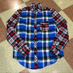 UO BDG patchwork flannel button up xs
